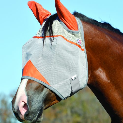 Crusader Fly Mask Standard with Ears – Orange